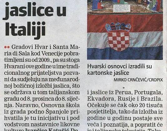 L'articolo apparso sui media croati a proposito dell'esposizione a Santa Maria di Sala